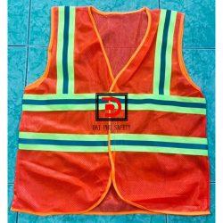 Áo lưới 3m cam phản quang vải xanh chuối xé dán