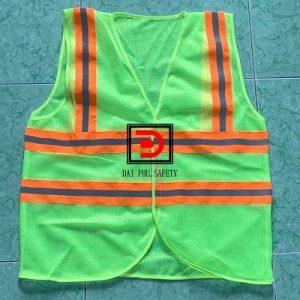Áo lưới 3m màu xanh chuối may phản quang màu cam