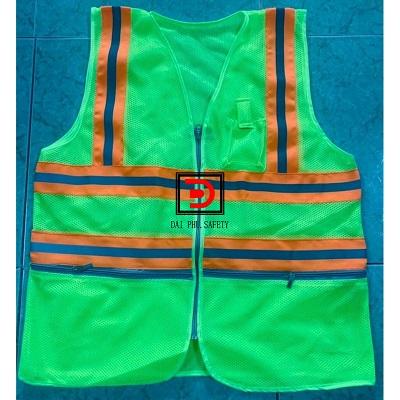 Áo lưới dây kéo 3m may phản quang vải màu cam