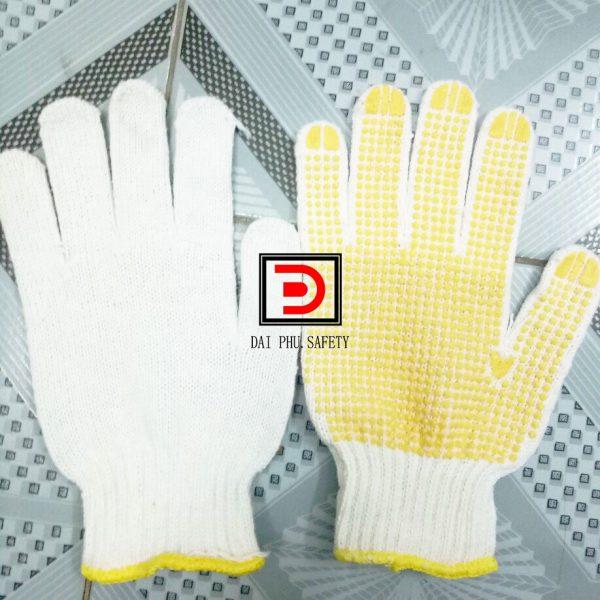 Găng tay len chấm hatj nhựa vàng